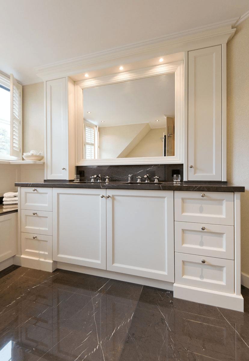 Marmer wastafelblad op maat badkamer