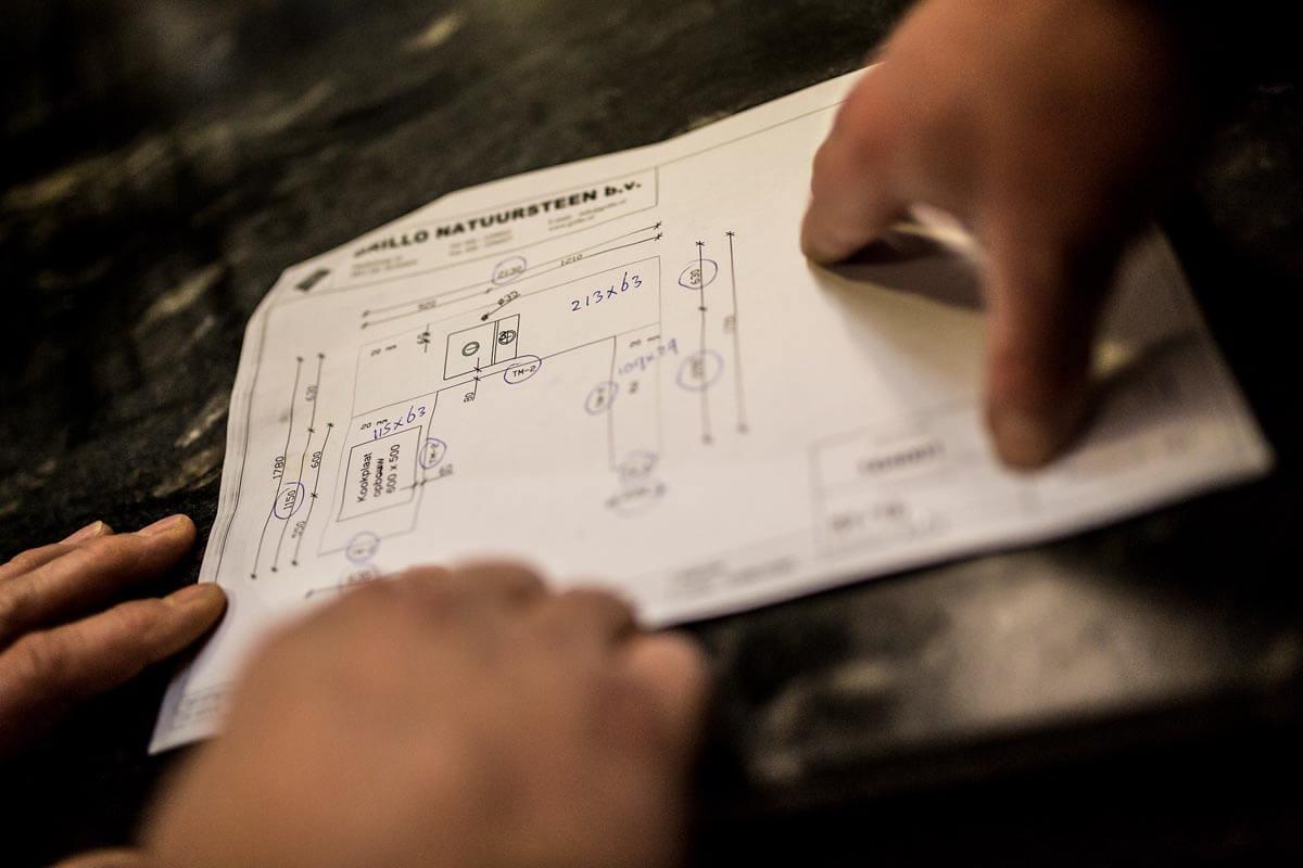Grillo Natuursteen fabriek proces tekening werkblad