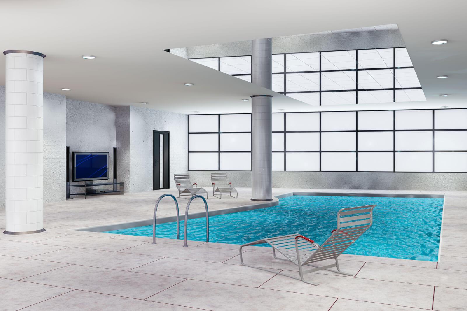 Modern luxe zwembad binnenshuis Grillo Natuursteen